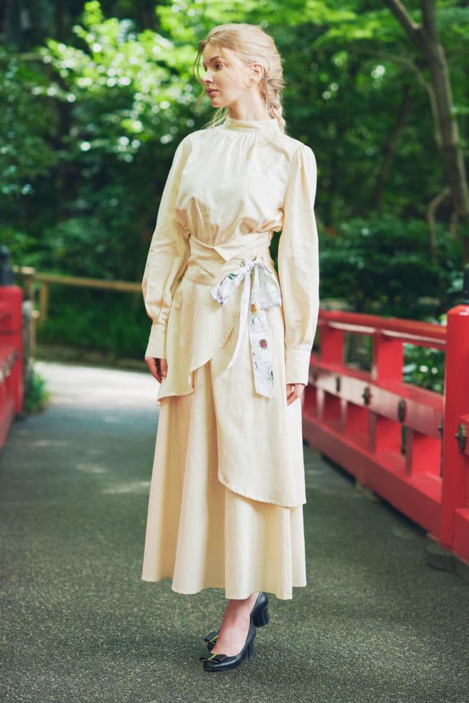 OTONAフードロス染色 本真珠ボタン パフスリーブシャツ&4WAYロングスカート   Insect Garden